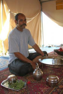 Mohamed preparing tea.