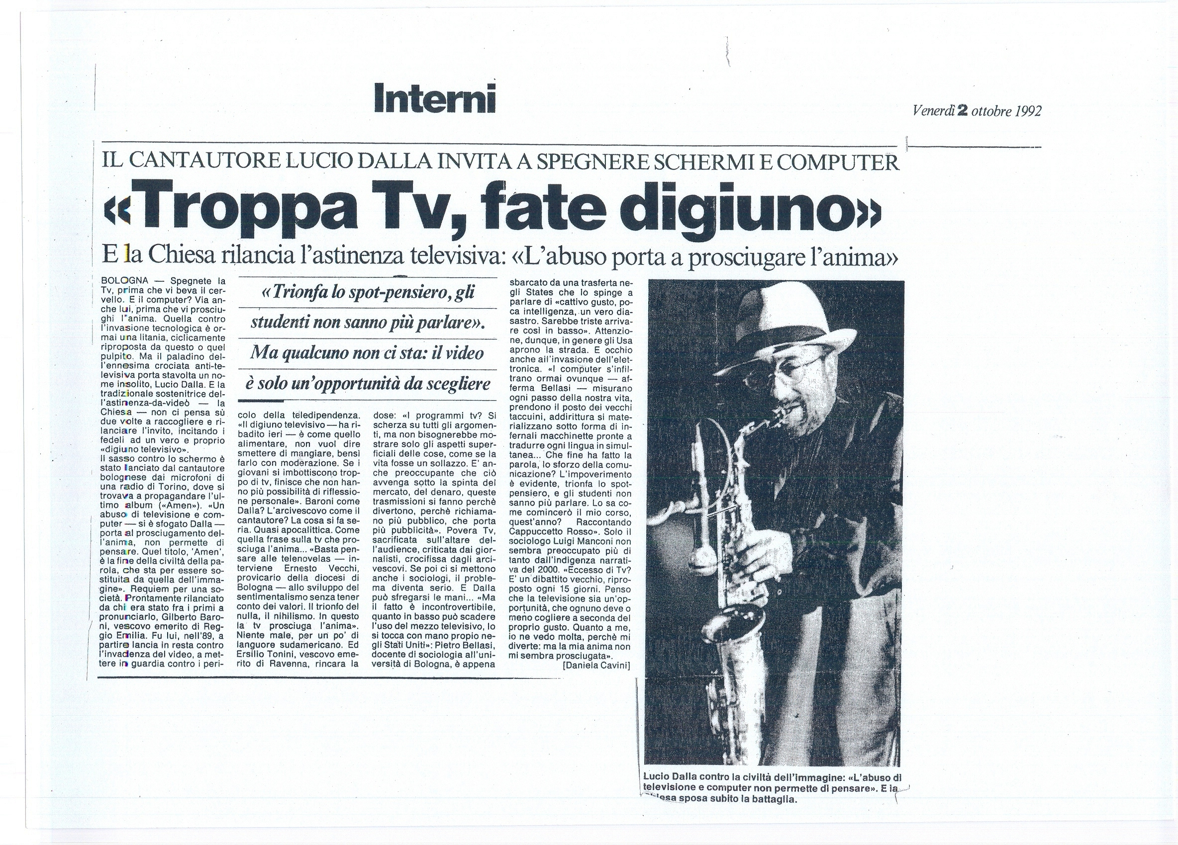 Troppa TV, fate digiuno  10-82